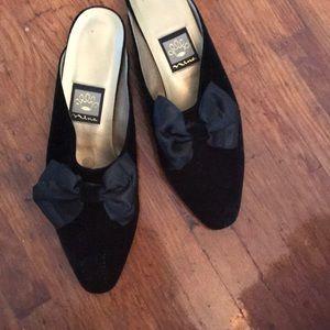 3/$25 Black Velvet with Bow Mules